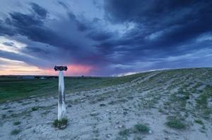 NWMP patrol trail marker. Val Marie, Saskatchewan. 49°14'48