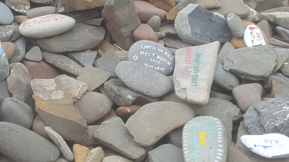 Modern prayer stones at Ninian's Chapel