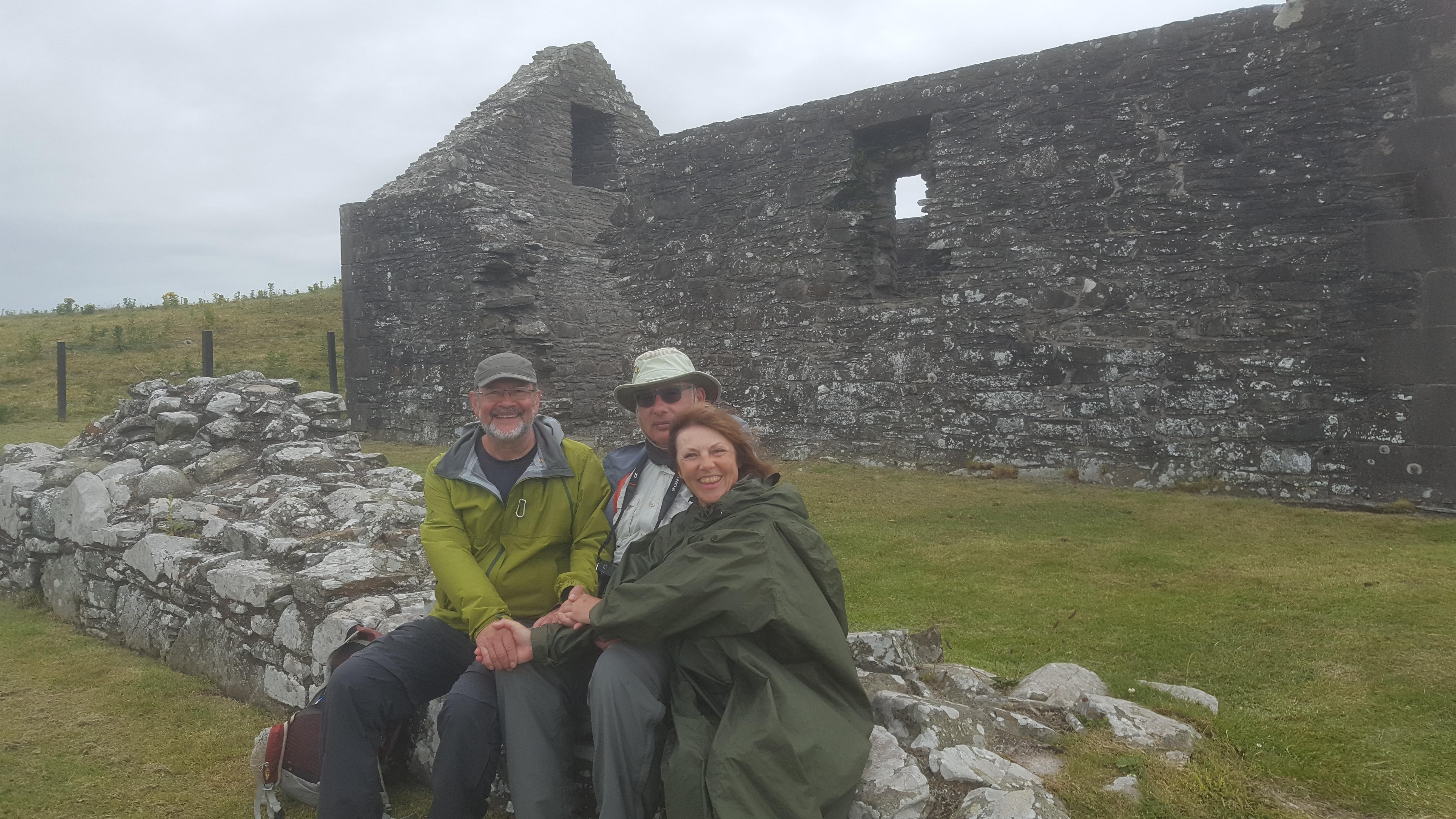 Three Pilgrims arrive at Ninian's Chapel