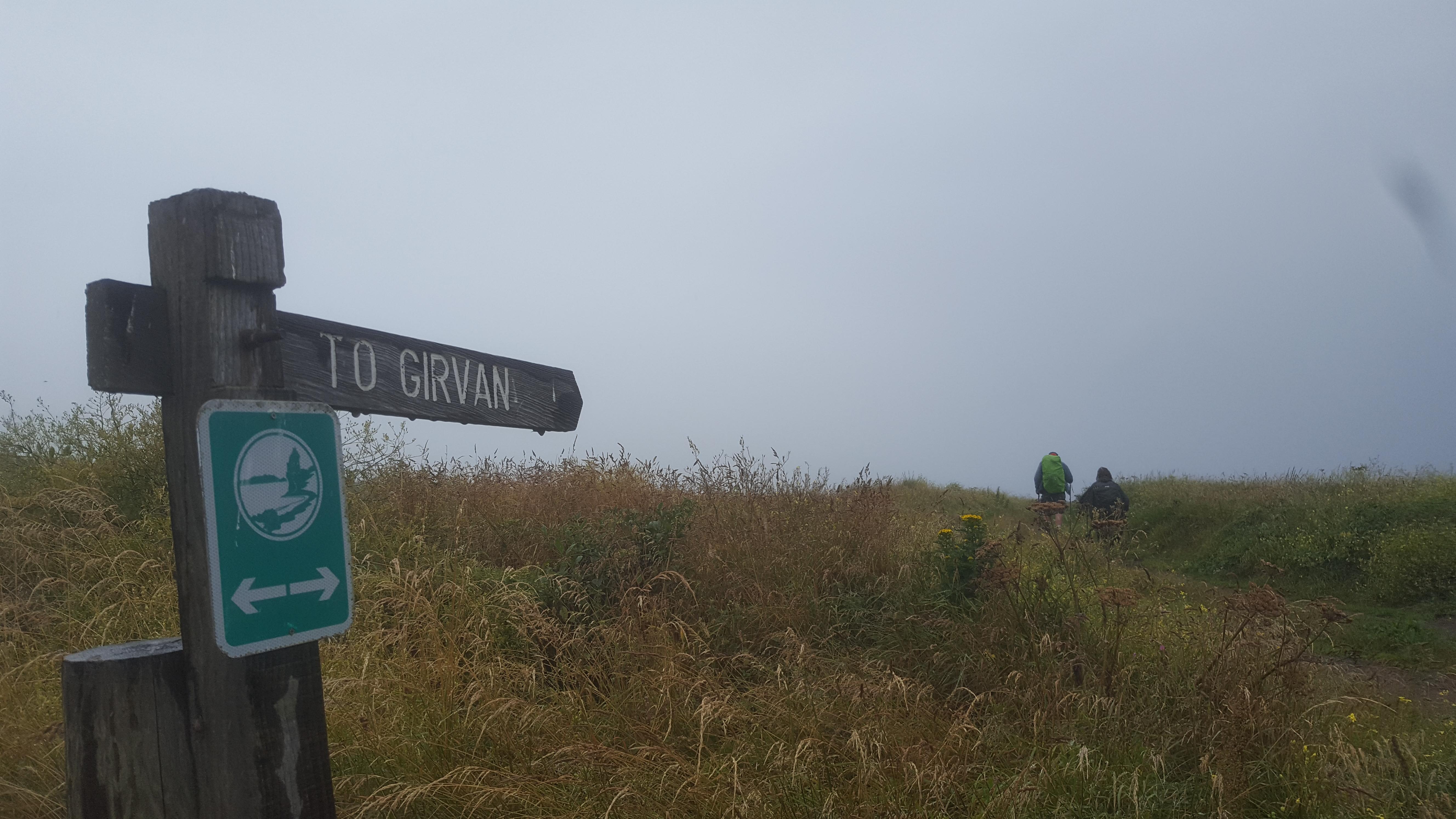 to Girvan sign in rain
